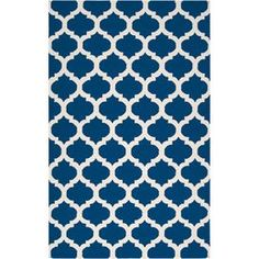 Handcrafted wool flatweave with a quatrefoil motif.   Product: RugConstruction Material: 100% WoolColor: Midnight blue and ivoryFeatures:  Hand-wovenMade in IndiaFlatweave Note: Please be aware that actual colors may vary from those shown on your screen. Accent rugs may also not show the entire pattern that the corresponding area rugs have.Cleaning and Care: Blot stains