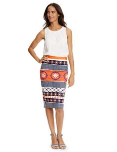 Not my kind of top, but the skirt print is great for something casual. Just the right amount of bright and funky.