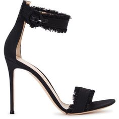 Womens High-Heel Sandals Gianvito Rossi Black Fringed Denim Sandals ($665) ❤ liked on Polyvore featuring shoes, sandals, ankle wrap sandals, open toe sandals, fringe sandals, heeled sandals and ankle strap high heel sandals
