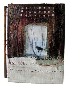 "Bridgette Guerzon Mills   ""The Thread that Binds"" handbound blank journal mixed media cover"