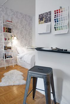 Small Swedish Apartment for Simple and Single Person: Black-Chair-Simple-Bookshelves-White-Rug-White-Bed – All about Home design