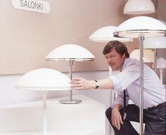 "Heikki Turunen with designs from his ""Salonki"" series. Helsinki, Lamps, Lighting, Design, Home Decor, Lightbulbs, Decoration Home, Room Decor, Lights"