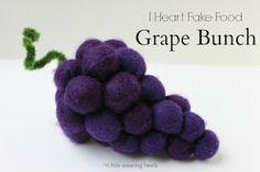 While Wearing Heels: I Heart Fake Food - Felt Grape Tutorial