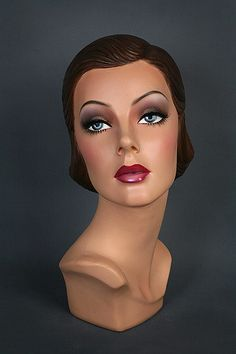 Shaping lines down from eyebrows to nose. Mannequin Display, Vintage Mannequin, Dress Form Mannequin, Mannequin Heads, Doll Head, Doll Face, Hat Stands, Sculpture, Mannequins