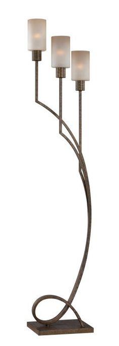 Lite Source LS-82148 Saeran 3 Light Floor Lamp Antique Bronze / Light Amber Lamps Floor Lamps