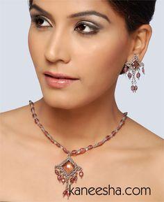 Wine Beaded Silver Toned Necklace Set Antiqued silver toned beaded necklace with square pendent. Matching earrings. #BuyDesignerJewellery #SilverTonedNecklaceSet