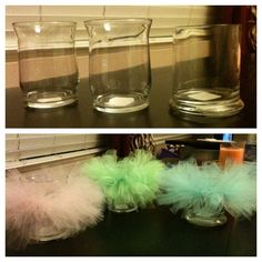 Tutu centerpieces: Put an elastic rubber band around candle holder (got these from Dollar Tree) and tie strips of tulle to the rubberband. Super easy, super cute.