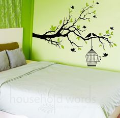 Nature wall decal branch with tiny flying birds and cage, home decor, office art, baby nursery