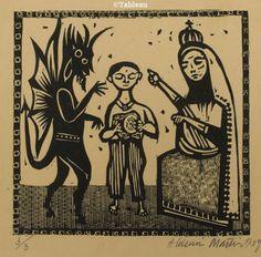 Aldemir Martins. Xilogravura (1959). 18x18 cm