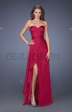 Sexy Side Slit Cranberry Ruched Bodice La Femme 19823 Prom Dresses
