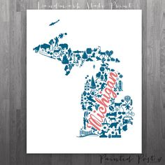 Michigan Landmark Custom State Print  8x10 Giclée by PaintedPost, $18.00 #paintedpoststudio - Custom State Print - Custom Michigan Map- What a great and memorable gift for graduation, sorority, hostess, and best friend gifts! Also perfect for dorm decor! :)
