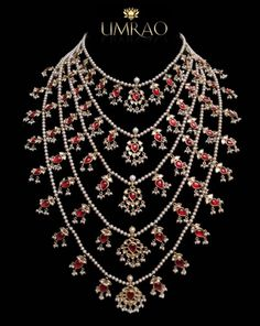 A traditional heirloom satlad (seven lined) necklace with polki diamonds, pearls & rubies. Shop for your wedding jewellery with Bridelan - a personal shopper & stylist for weddings. Website www.bridelan.com #Bridelan
