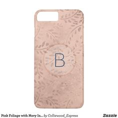 Pink Foliage with Navy Initial Iphone Case