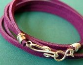 Items similar to Suede Wrap Bracelet in Purple with handmade clasp on Etsy