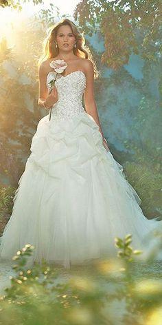 18 Disney Wedding Dresses For Fairy Tale Inspiration ❤ See more: http://www.weddingforward.com/disney-wedding-dresses/ #weddings #dress