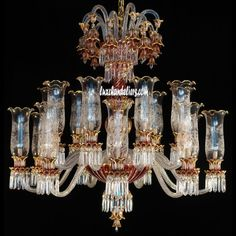 Ceiling Chandelier 18 Arms Optic Red & Gold Luxury Chandeliers