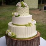 Pretty cake! And I'm using a tree stump for my cake stand!