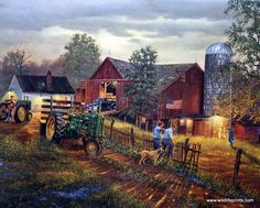 Two farmers share stories in Dave Barnhouse's print America's Heartland. This nostalgic scene of rural America includes John Deere tractors, a dog, a classic old truck, a barn, children, and even an A