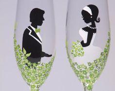 Mano pintada boda tostado flautas Set de 2 por pastinshs en Etsy
