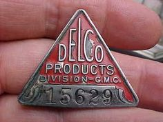 Vintage Delco badge