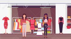 mix race saleswomen holding dresses fashion boutique big shop female clothes shopping mall interior c Shopping mall interior Fashion boutique Clothes for women