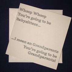 Grandparents - Whoop whoop You're going to be babysitters... Personalised Pregnancy Announcement Card by ItchyAvocado on Etsy