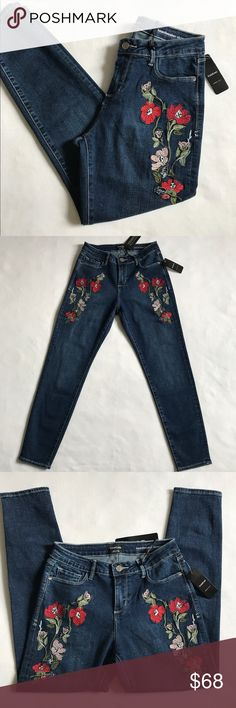 "Bebe embroidered skinny jeans Brand new with tag. Rise 9"", inseam 27"", 72% cotton 23% polyester 3% rayon 2% spandex. Price is firm. No trades 🌷 bebe Jeans Skinny"