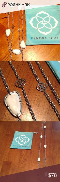 Kendra Scott silver-mother of pearl long necklace. Sold out bought at Nordstrom perfect condition Kendra Scott Jewelry Necklaces
