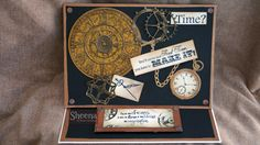 Easel card made by me with the TIME TRAVELLER collection by Sheena Douglass.