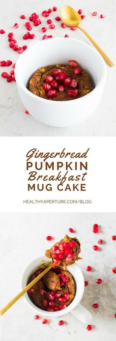 Just in time for the busy holiday season, an easy mug cake recipe for breakfast! Healthy Gingerbread Pumpkin Breakfast Mug Cake.