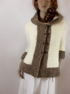 Hoodie Jacket Off white cappuchino 3/4 sleeves women by Pilland, $160.00