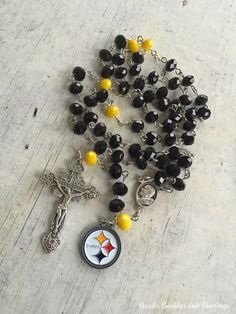 A personal favorite from my Etsy shop https://www.etsy.com/listing/192132838/pittsburgh-rosary-pittsburgh-football