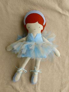 Blue Ballerina Fabric Doll by rovingovine on Etsy, via Etsy.