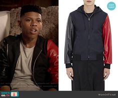 Hakeem's jacket with one red leather sleeve on Empire.  Outfit Details: http://wornontv.net/54189/ #Empire