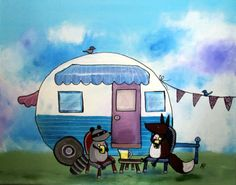 Vintage Camper Painting Camping Childrens Wall Art by andralynn