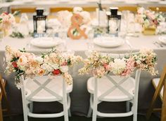 Wedding chairs (Wedding Planning, Styling + Floral Design: Lovely Little Details) - Rustic Chic Napa Valley Wedding at Long Meadow Ranch captured by Jessica Burke #chair-decor, #dahlia