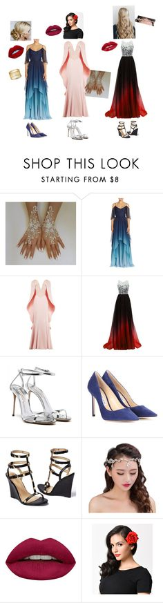 """""""Random #12"""" by krystalsunset118 ❤ liked on Polyvore featuring Theia, Mikael D, Jimmy Choo, Venus and Huda Beauty"""