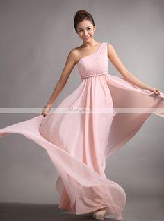 Fashion one shoulder with empire waist full A-line chiffon bridesmaid dress