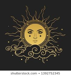 The Sun with human face. Vector hand drawn illustration on black background Sun Painting, Fabric Painting, Art Soleil, Sun Drawing, The Sun Tarot, Sun Illustration, Posca Art, Sun Art, Hippie Art