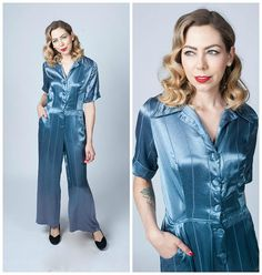 RESERVED Vintage 1940's Blue Liquid Satin Jumpsuit with