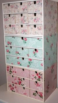 : 75 of the Best Shabby Chic Home Decoration Ideas 47 Top Minimalist Decor Ideas To Have[.Ikea drawers decorated with vintage wallpaper Decoupage und Serviettentechnik - Mod Podge and Paper Napkins TechniqueIkea drawers decorated wi Shabby Chic Crafts, Shabby Chic Homes, Shabby Chic Decor, Ikea Storage Units, Storage Hacks, Diy Storage, Keep Calm And Diy, Ikea Drawers, Storage Drawers
