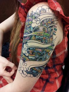 Ari got some color done on her Howl's Moving Castle tattoo yesterday.