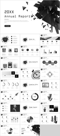 Gray creative annual report PowerPoint template on Behance Cool Powerpoint Backgrounds, Simple Powerpoint Templates, Professional Powerpoint Templates, Keynote Template, Power Points, Presentation Layout, Business Presentation, Catalogue Design Templates, Web Design