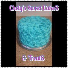 Teal blue roses cake