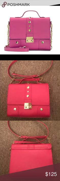 Authentic Juicy Couture pink leather crossbody bag Authentic 100% cow leather Juicy Couture Brentwood leather flap crossbody in color sweet raspberry. I bought it almost two years but only used once. So, it is in perfect condition. It has a tiny mark on the hardware( the lock in the front). Since I have used it, I don't have the price tag with the bag. Also the bag didn't come with the dust bag when I purchased. But you will get a dust bag or something similar which will fit this bag but not…