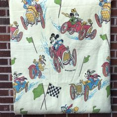 d3f1cb6d Rare Vintage Disney Blanket Mickey Mouse Minnie Donald Goofy Pluto Auto  Racing #Unbranded