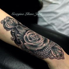 black and grey rose cuff tattoo