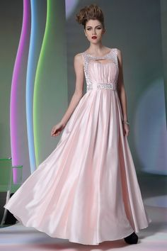 beaded pearl pink silk stretch satin sleeveless scoop neck prom dress