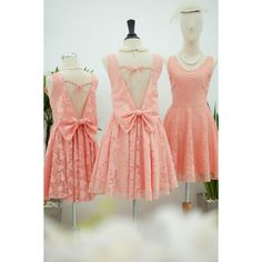 Peach Dress Orange Lace Dress Pink Party Dress Backless Dress Peach... ($55) ❤ liked on Polyvore featuring dresses, silver, women's clothing, short prom dresses, red lace dresses, lace cocktail dresses, pink prom dresses and lace prom dresses
