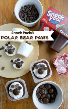 These Polar Bear Paw Snack Pack® Pudding Treats are fun to make (and eat!) with the kids on cold winter days. Preschool Snacks, Fun Snacks For Kids, Kids Meals, Kid Snacks, Polar Animals Preschool Crafts, Camp Snacks, Classroom Snacks, Daycare Crafts, Quick Snacks